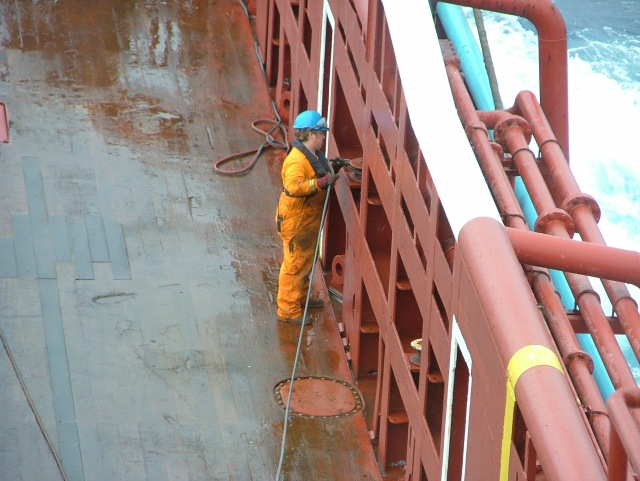Alf shocked us all by appearing on deck one day, in working gear, working :o)