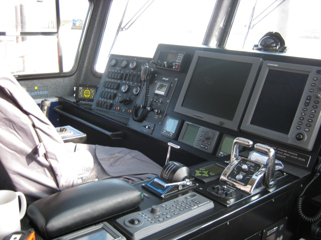 The control position on a 2012 built CTV. All very 'Star Trek' and wonderful. However put a very tired skipper into the mix, add a touch of lumpiness and the potential for collision catastrophe was ever present.