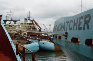 Four Maersk AHTs moored up for protection at Onne, Port Harcourt, Nigeria 2003