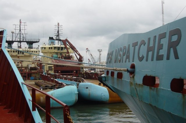 Three Maersk AHTs moored up for protection at Onne, Port Harcourt, Nigeria 2003