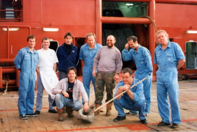 Possibly the most beautiful AHT crew in the world. Maersk Detector 1999.