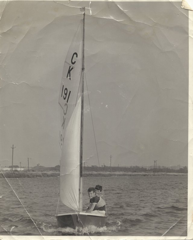 First Ship, 1968, with Kenny Blackman in a Cadet dinghy at Cliffe in NW Kent.
