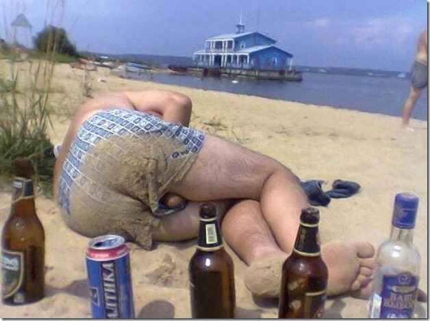Capture Drunk on beach