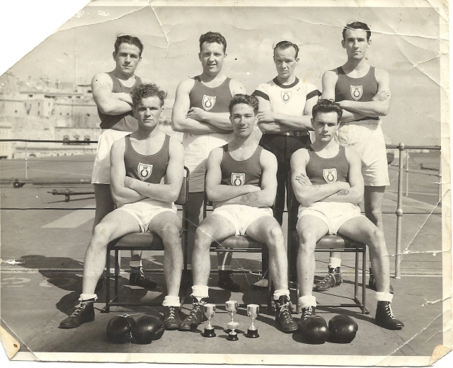 Daddy allatsea in the boxing team, he was the Meddy fleet lightweight champion (possibly bantamweight but our memories are weak these days). To his die-ing day he was proud of his achievements in the ring.
