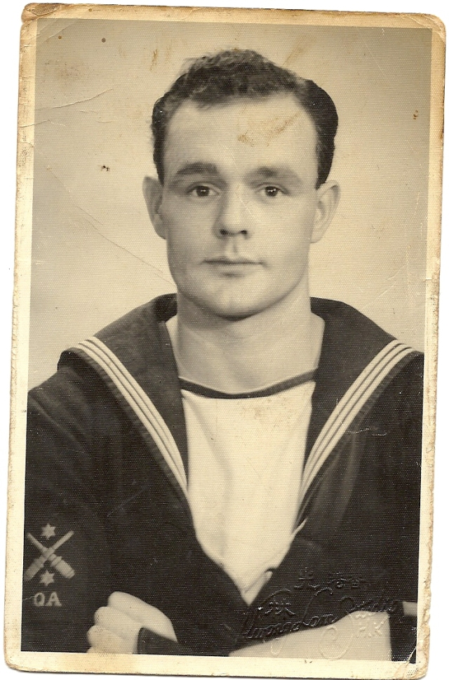 Daddy allatsea as a young gobby (they say) matelot. He joined as a boy at 15 and trained at HMS St Vincent in Gosport.