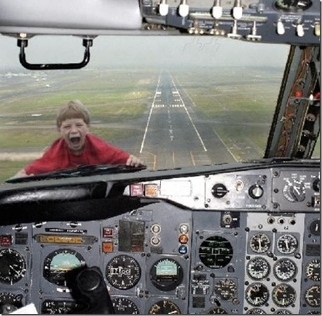 kid outside cockpit